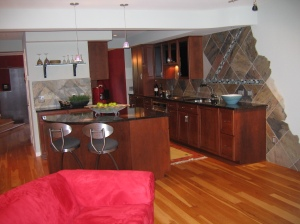Open view of remodeled kitchen