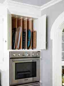 Vertical storage for trays, sheets, boards. Nice!