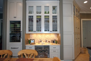 Designed kitchen with doorway and hallway entries in mind.